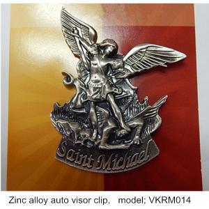 China Metal driver's Guardian car visor clips, zinc alloy St. Michael guardian auto Visor Clips on sale