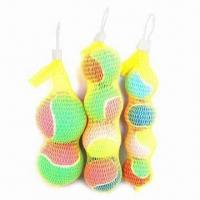 China Colorful tennis balls in net bag, used for any ground on sale
