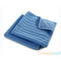 China Wide Vertical Stripes Microfiber Cloth Streak Free, Durable, Scratch-Free, Super Absorbent on sale