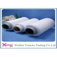 Raw White 100% Polyester Bright Yarn , Ring Spun Sewing Thread for Knitting Coats Manufactures
