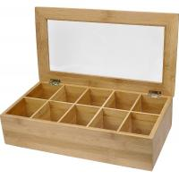 China 10 compartments bamboo wooden organic assorted tea storage box tea gift set on sale