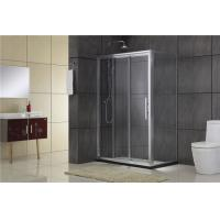Chromed Sliding Aluminum Shower Doors Double Moving door one Fixed Glass and one Fixed Panel Manufactures