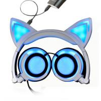 Foldable Flashing Glowing Sport Bluetooth Earphone HIFI Stereo With Cat Ear Manufactures