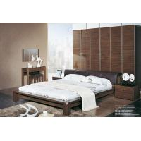 Quality Walnut wooden Adult Single Bedroom Furniture Leather headboard Bed with Home for sale