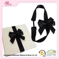 China 6cm Black elastic bow tie Organza Material , present ribbon bow for gift packing wholesale