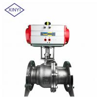 China XinYi 2 Way Stainless Steel PTFE Flanged Connection Pneumatic Actuated Ball Valve on sale