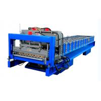 China PLC Control Glazed Roof Tile Roll Forming Machine With Cr12 Tool Steel Cutter on sale