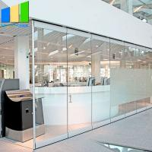 China Modern Style Sliding Partition Walls Movable Frameless Folding Glass Doors on sale