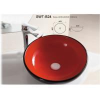 China Red Color Glazed Colorful Ceramic Wash Sink Hand Wash Basin For Bathroom on sale