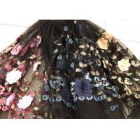 Flower Embroidered Sequin Lace Fabric , Multi Colored 3D Flower Mesh Lace Fabrics Manufactures