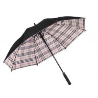 China Flip Proof Golf Foldable Sun Umbrella Double Layer Canopy Inside Plaid Color on sale