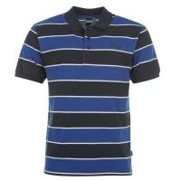 China Navy Blue Cool Touch POLO T Shirts With Pocket / Block Stripes / Polo V Collar on sale