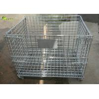 China Galvanized Steel Transport Collapsible Cage Storage Shelves Wire Mesh Crate for sale