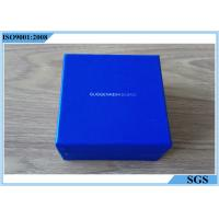China Blue Cardboard Jewelry Boxes Small Square Shape With Customized Logo on sale