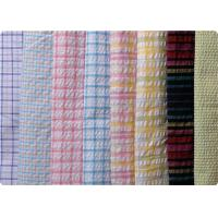 100% Cotton Yarn Dyed Latccice Plaid Seersucker Fabric For Garment Manufactures
