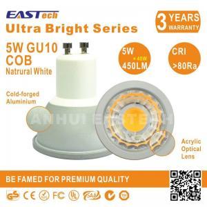 Quality CE RoHS Aluminium Epistar COB 5W 450LM 80Ra 4500K GU10 E27 E14 Spotlight for sale