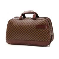 Quality Large Travelling Luggage Bags with Tie Rod Hand Double Use , Brown PU Leather Trolley Bags for sale