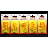 Number Birthday Candles 0-9 Yellow Candle  with Orange color Stripe Painting Manufactures