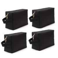Canvas Waterproof Toiletry Bag For Women Water Resistant Black Color 4 Packs Manufactures