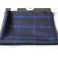 Dark Blue Tartan Plaid Wool Fabric With Light Blue Line 30 Polyester 750g Per Meter Manufactures