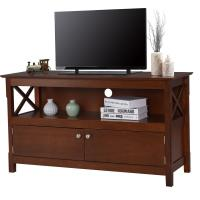 Large Living Room Wooden Television Stands With Open Shelf / X Side Cabinets Manufactures