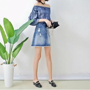 China Spring Women Dark Blue Denim Blouses And Tops Off Shoulder Bat Wing Long Sleeve on sale