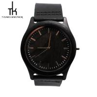Black Wood Watch Leather Band Sandal Wood Dial Oem Japan Movement Manufactures