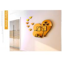 Buy cheap Hot sale self adhesive wall mirror decoration stickers LOVE Heart shaped sticker from wholesalers