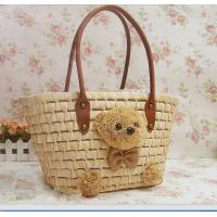 Discount designer handbags natural straw bag with teddy bear 80248 Manufactures