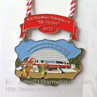 Enamel paint half Marathon medals and medallions with lace ribbon, enamel sport medals, Manufactures