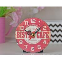 China Bistro Café Wall Clock Wall Hanging Round Red Big Paris Style Time Vintage MDF Wood Movement Wall Clock on sale