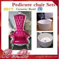 China 2017 hot sale king throne pedicure chair with round pedicure bowl , Pink spa pedicure chairs for sale on sale