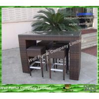 Dark Brown Flat PE Rattan Bistro Set With Alum Frame Manufactures