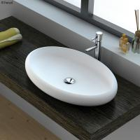 China white oval countertop solid surface vanity wash basin for hotel on sale