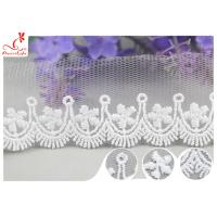 Quality 3CM African Mesh Embroidered Bridal Lace / Nylon Or Polyester Wedding Lace Trim for sale