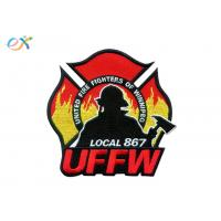 UFFW Fire Department Logo Iron On Embroidered Patches Custom Emblem Irregular Shape Manufactures