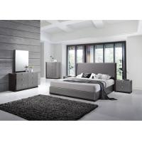 Modern Strong Structure Flat Pack Bedroom Furniture With Grey High Gloss Bedside Cabinet  Manufactures