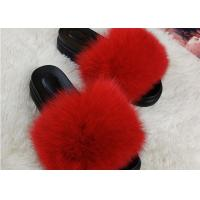 Summer Lady Sandals Womens Fox Slippers , Super Soft Fuzzy Slide Slippers  Manufactures