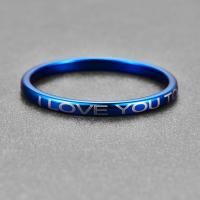 Nuncad 2mm Wide Lettering I Love You to the moon back Plating Blue Tungsten carbide Ring daily men's jewelry gift rings Manufactures