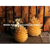 Unique Design Flameless LED Wax Votive Candles , Ivory Christmas Pine Cone Candle Manufactures