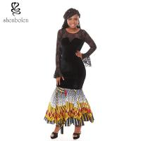 Summer Lace Batik Cloth Stitching Long Sleeves Modern African Dresses Novelty Manufactures