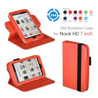 Orange PC Nook Color Leather Covers , 360 Rotating 7 Inch Tablet Cases Manufactures