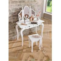 China Home Decor Solid Wood Dressing table lilly White Set With Mirror And Stool on sale