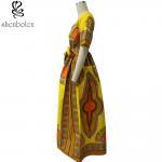 Modern African Print Dresses Dashiki For Elegant V - Neck Classical Print Sleeveless