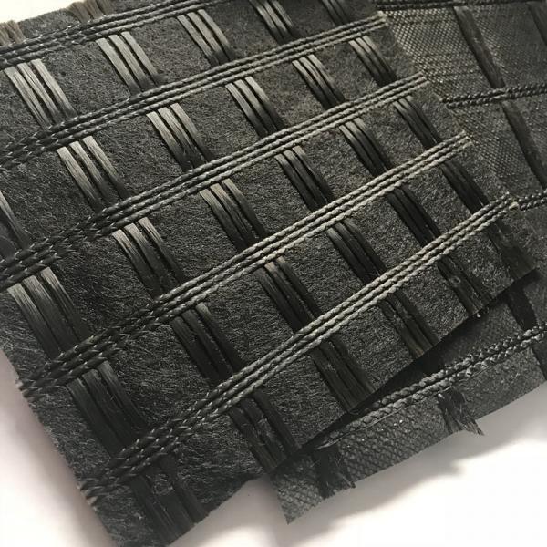 Quality Asphalt Reinforcement Polyester Pet Geogrid Knitting Geogtextile Composites With Impregnated Bitumen for sale