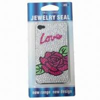 China Crystal case for iPhone, romantic rose design, available with plastic case, safe and non-toxic on sale