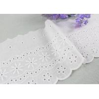 Embroidered Flower Eyelet Cotton Lace Trim With Azo Free Organic 13cm Width Manufactures