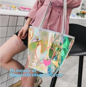 China popular bench shoulder bag transparent pvc bag, PVC Tote Bag Shoulder Handbag Transparent PVC Beach Bag, casual beach ba on sale