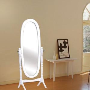 Tiltable Women White Wooden Dressing Mirror Full Length For Living Room Manufactures