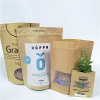 Brown Custom Paper Bags Clear Front Windows Eco Friendly For Packing Dried Snack Food Manufactures